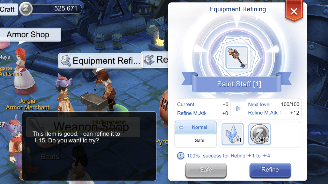 Refine gears in Ragnarok m to increase attack damage