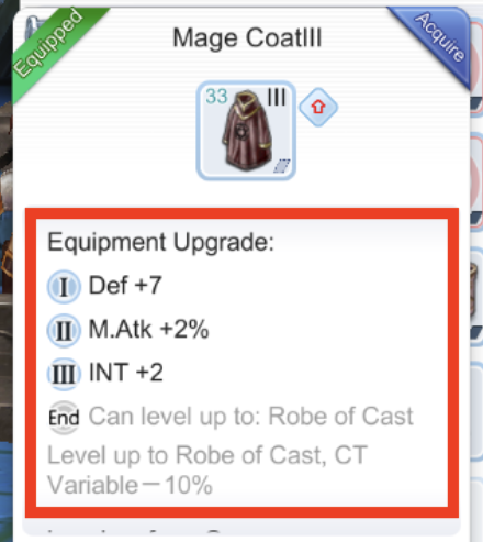 mage coat upgrade equipment to get bonus stats