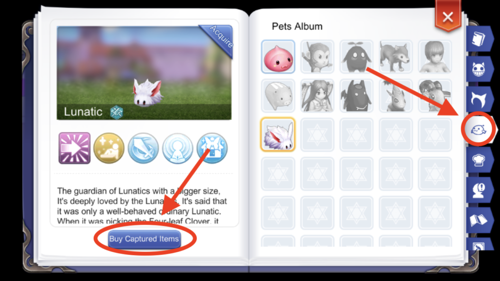 catch lunatic pet adventure handbook ragnarok mobile
