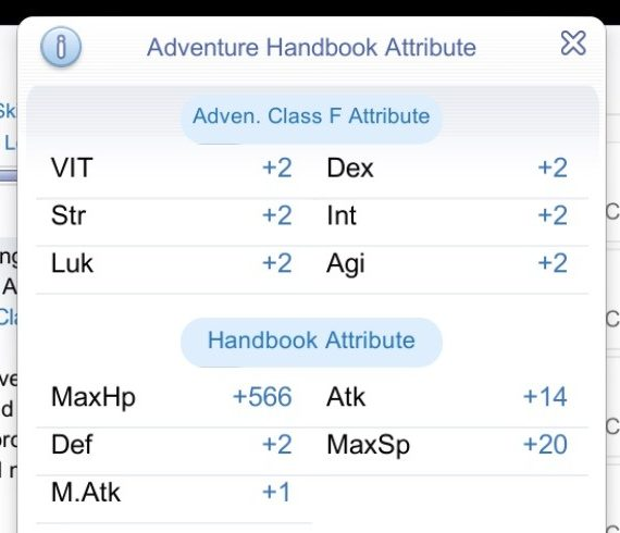 Adventure Handbook bonus stat attributes at higher Adventurer Class Rank