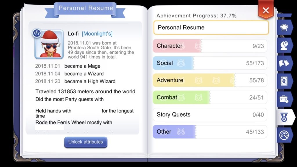 Adventurer Handbook Personal Resume game achievements and milestones