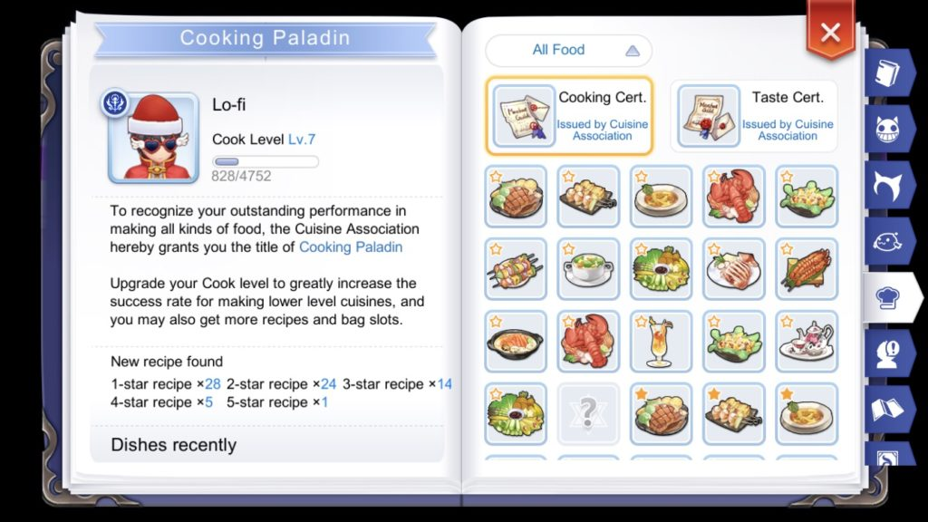 Cooking recipes unlocked in Adventure Handbook
