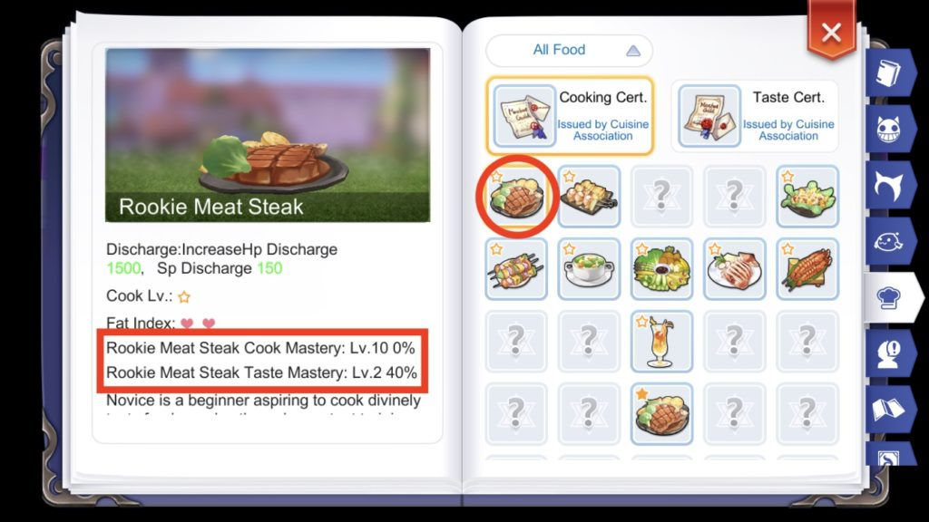Recipe Cook and Taste Mastery Levels in Adventure Handbook