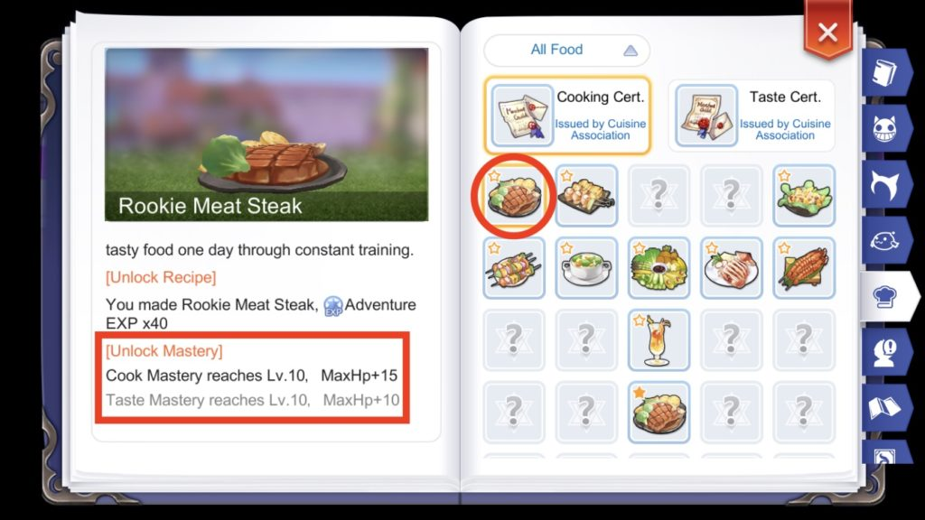Maxing a recipe Cook and Taste Mastery unlocks permanent stat bonuses in Adventure Handbook