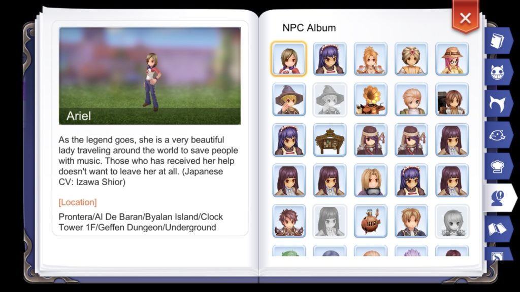 Unlock NPCs in Adventurer Handbook by talking to them