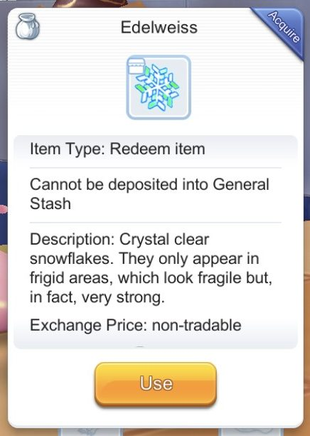 edelweiss snowflake item are used to purchase from greedy shop