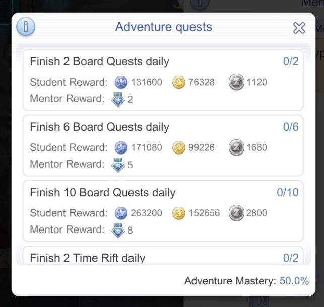 mentor student adventure quests rewards for daily quests
