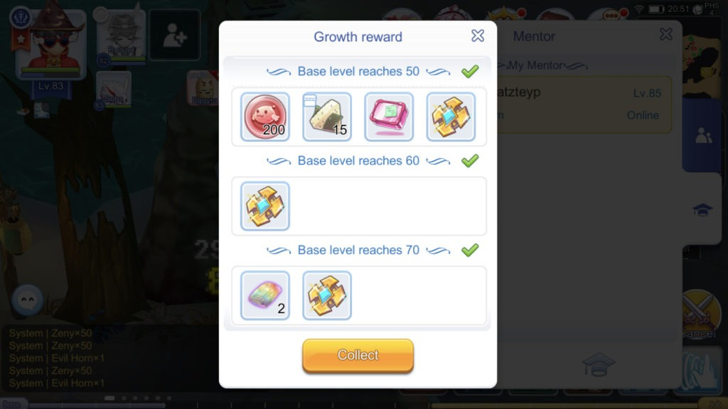 Student growth rewards when reaching Base levels 50 60 70 four Gold Medals in total