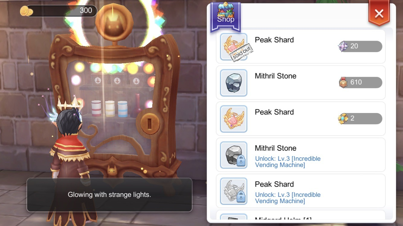 Buy Peak Shards from Incredible Vending Machine Guild Hall facility using Silver Medals Gold Medal or Nibulengen Shard