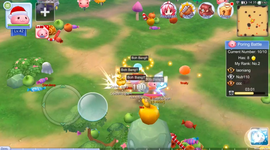 Poring event use headbutt on other players to get Golden Apple