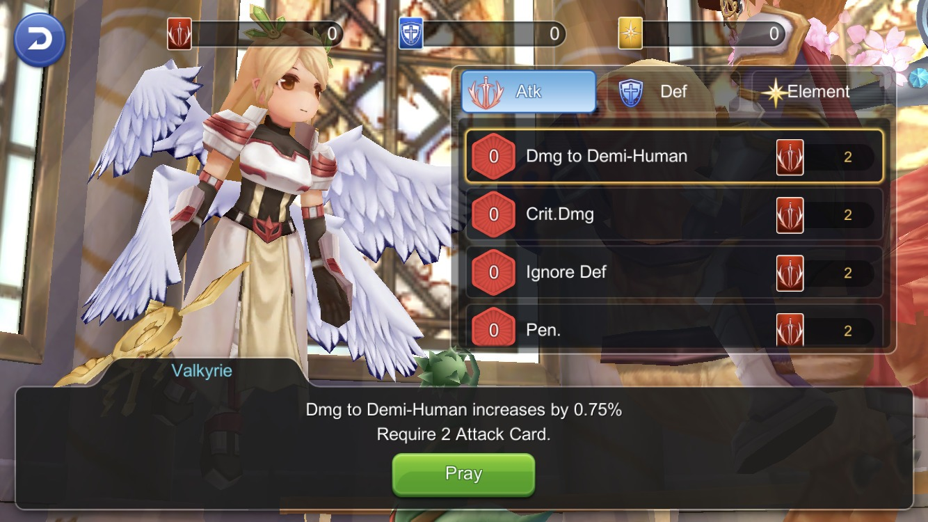 How to use Prayer Card Packs to get bonus stats from Valkyrie via Blessing of Goddess