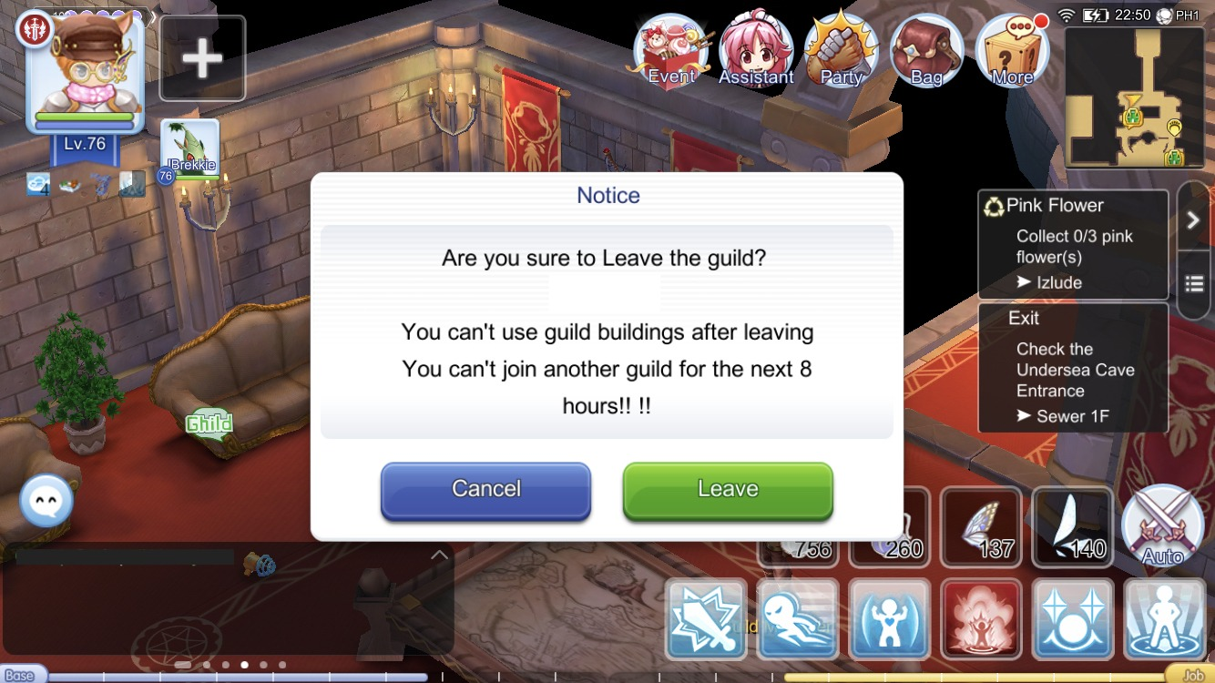 Leave guild confirmation window