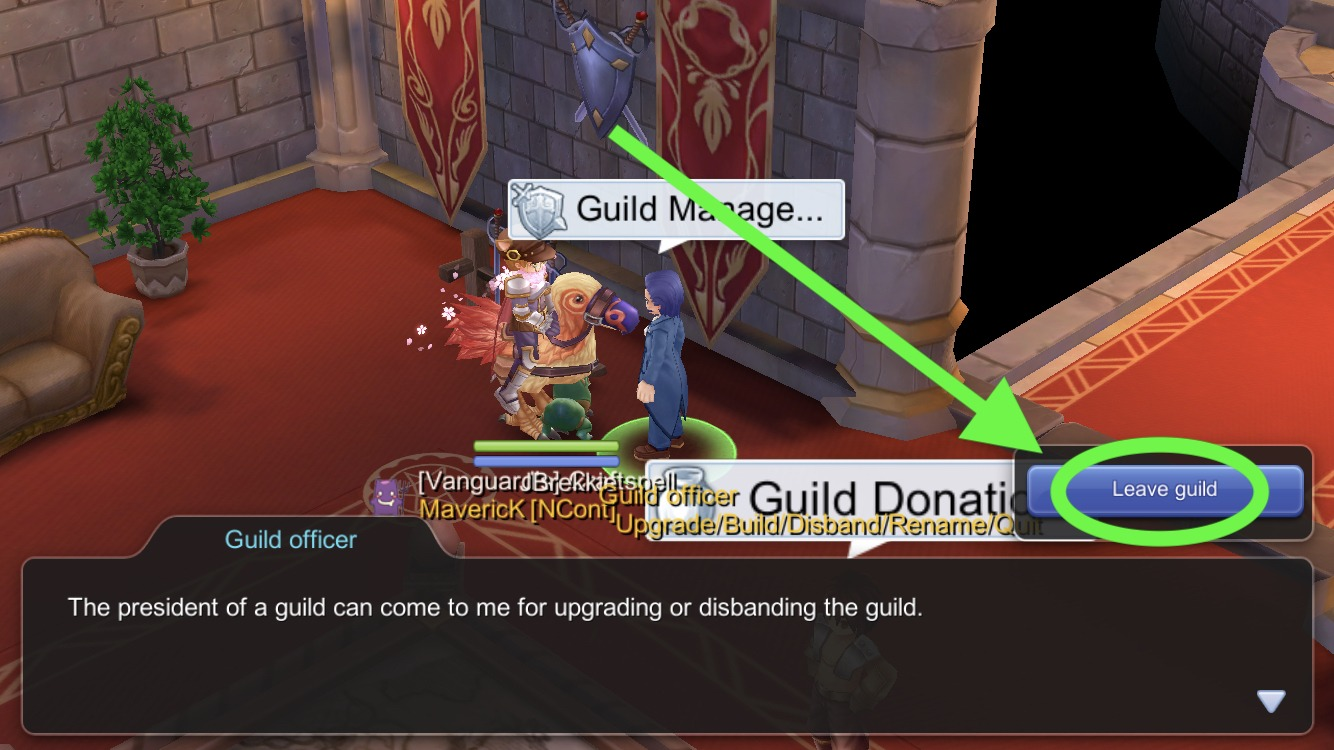 Select leave guild after talking to Guild Manager in Guild Hall