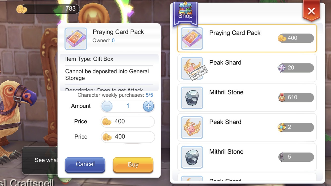 You can buy Praying Card Packs at 400 Honor Proof each in your Guilds Vending Machine