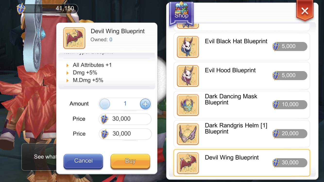 Buy the Devil Wing Blueprint from Moses Creste Medal Collector in Glast Heim Hall