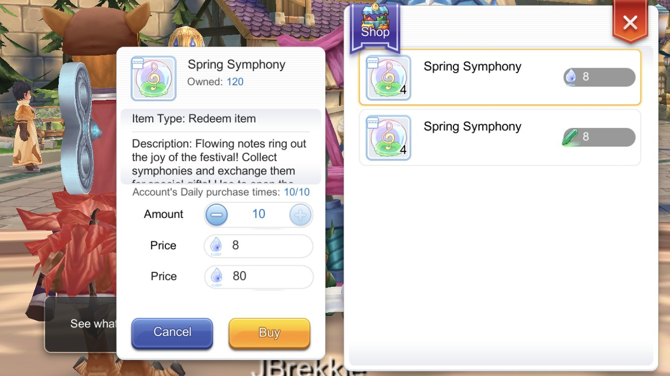 Trade gems for Spring Symphony in Geffen Yowloo NPC
