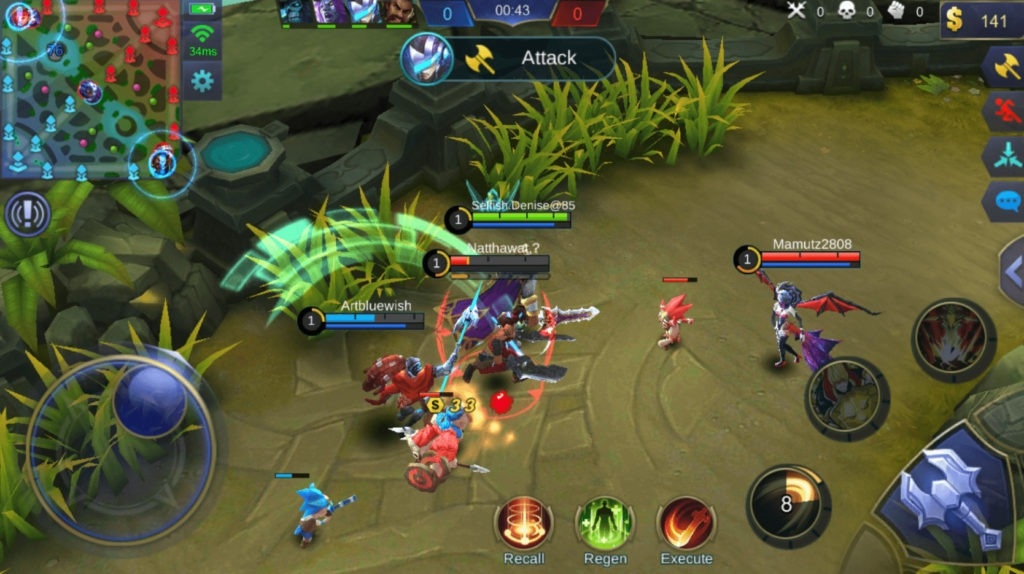 Mobile Legends Bang Bang heroes teamfight in the battlefield